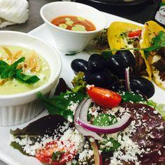 Dinner tonight  Tacos de brisket with queso Oaxaca , salad & poblano cream suop