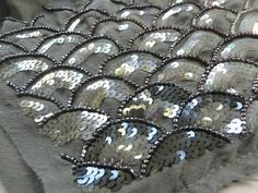 Embroidery sample with fish scale pattern using seed beads & iridescent sequins - fabric embellishment; Tambour Beading, Tambour Embroidery, Bead Embroidery Patterns, Hand Work Embroidery, Couture Embroidery, Embroidery Fabric, Embroidery Designs, Bordados Tambour, Fabric Embellishment