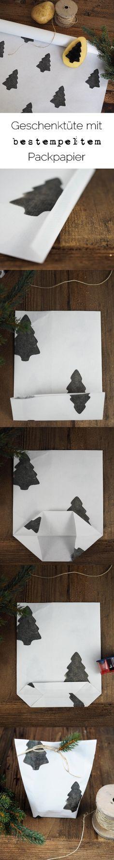 Geschenktüte mit bestempeltem Packpapier/Geschenkpapier