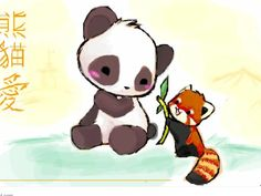 Cute Red Panda And Giant Drawing
