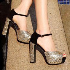 Sequined Peep Toe High Block Heel Platform Sandal