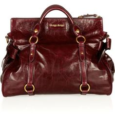 Miu Miu Bow-embellished glossed-leather tote ($1,595) ❤ liked on Polyvore