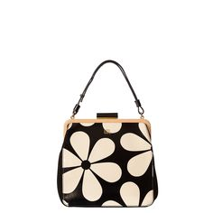 Orla Kiely: Printed patent leather, fully lined bag. Leather covered metal frame with shaped black plastic closure. Gold colored hardware. Adjustable handle can be worn long (26in) or short (15.2in). Inside details include large linear stem jacquard lining, zip pocket, mobile pocket and elastic key chain.