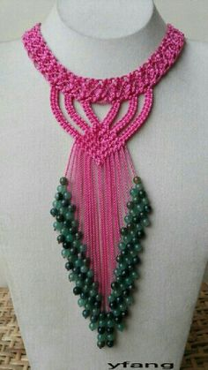 Pink macrame necklace with green agate and aventurine