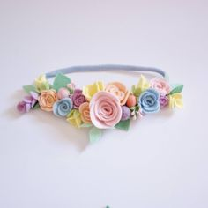 Pastel Full Floral Crown is part of Felt flowers This gorgeous flower crown is made from hand cut wool felt flowers and leaves and attached to a one size fits all nylon band It is beautiful, unique - Felt Headband, Baby Flower Headbands, Felt Flowers, Fabric Flowers, Diy Flowers, Ribbon Flower, Ribbon Hair, Hair Bows, Felt Roses