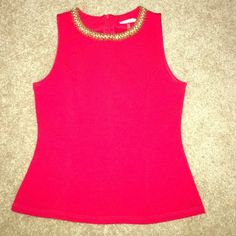 Beaded neckline red top Red top bought from Dillards brand new with tags still attached. Junior size medium made from 96% polyester and 4% spandex. Reasonable offers are accepted. Tops