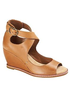Clarks Tan High Cut Out Wedge Sandals - kind of odd