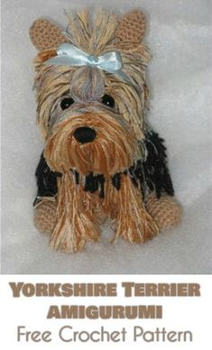 Diy Crafts - Can any amigurumi toy be more adorable than the the wildly popular Yorkshire Terrier? The Yorkie is lively dog with a darling look. Crochet Amigurumi Free Patterns, Crochet Animal Patterns, Stuffed Animal Patterns, Free Crochet, Crotchet Patterns, Crochet Animal Amigurumi, Knitted Animals, Crochet Dolls, Yorkshire Terriers