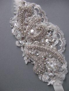 Rhinestone and pearl lace Bridal headband