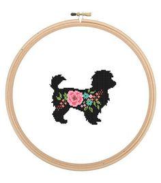 73e0ef140 Maltipoo Dog Silhouette Cross Stitch Pattern floral roses Pet animal wall  art Dog cross stitch modern trendy gift