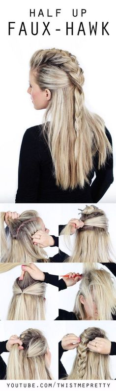 Hair Styles Ideas : Illustration Description Half Up Faux Hawk. -Read More – - #Hairstyle