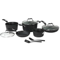 Starfrit the RockTM 10 Piece Non-Stick Cookware Set Finish: Black * Details can be found by clicking on the image.