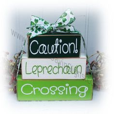 Items similar to Caution Leprechaun Crossing Itty Bitty Wood Blocks on Etsy March Crafts, St Patrick's Day Crafts, Wood Block Crafts, Wood Blocks, Wood Crafts, St Pattys, St Patricks Day, Money Making Crafts, St Patrick's Day Decorations