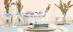 Decoración boda en azul