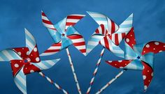 Big Top Red White and Blue Paper Pinwheels on Stars by AFeltAffair on Etsy.