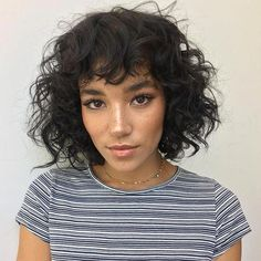 18 Best Short Dark Hair Color Ideas of 2019 - Style My Hairs Curly Hair With Bangs, Black Curly Hair, Curly Hair Cuts, Hairstyles With Bangs, My Hair, Curly Hair Styles, Natural Hair Styles, Bangs Hairstyle, Short Curly Haircuts