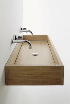 Wall-hung washbasin WOODLINE by Benedini Associati AGAPE
