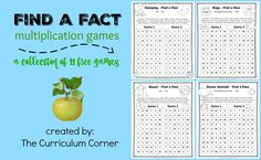 Multiplication fact games collection - 12 different games | free from The Curriculum Corner
