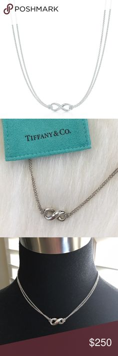 """Tiffany Infinity Pendant Sterling silver (.925) infinity pendant w/looped double chains; 16"""" chain; worn once; No box but original pouch is included Tiffany & Co. Jewelry Necklaces"""