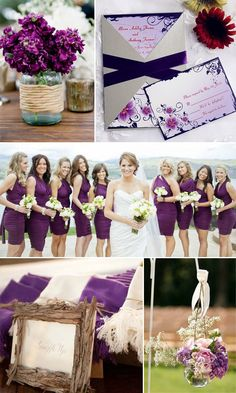 chic rustic purple wedding color ideas and wedding invitations