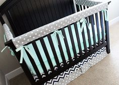 Mint Grey and Navy Custom Crib Bedding Baby by GiggleSixBaby