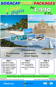 Boracay Tour Packages as low as Php. 1 Day, Free Time, Transportation, Destinations, Packaging, Tours, Island, Time Out, Islands