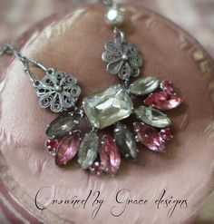 Pink Heaven vintage assemblage necklace art deco pink