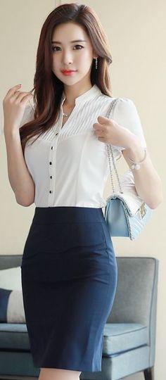 StyleOnme_Wavy Front Flap Detail Pencil Skirt #navy #pencilskirt #elegant #feminine #koreanfashion #kstyle #kfashion #seoul #springtrend