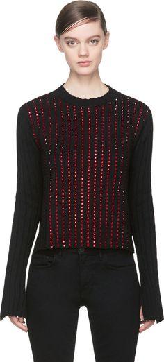 Anthony Vaccarello Black Cashmere Red Swarovski Studded Sweater