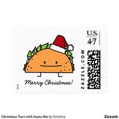 Christmas Taco with Santa Hat Postage