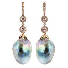Gold Drop Earrings, Dangle Earrings, Bead Necklaces, Look Hip Hop, Pearl Jewelry, Fine Jewelry, Types Of Earrings, South Sea Pearls, Baroque Pearls