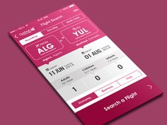 Flight App design layout for iOS found on Design Web, App Ui Design, Web Design Trends, User Interface Design, Flat Design, Graphic Design, Mobile App Design, Mobile Ui, Pink Mobile
