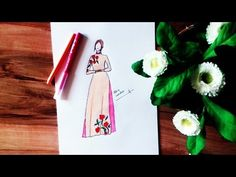 How to Draw Chiffon Dress - YouTube