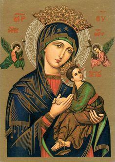 Our Lady of Perpetual Help novena. Novena Prayers, Catholic Prayers, Catholic Art, Religious Images, Religious Icons, Religious Art, Image Jesus, Jesus Christ Images, Lady Madonna