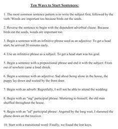 """hellolearnenglishwithantriparto: """" 10 ways to start sentences #learnenglish """""""