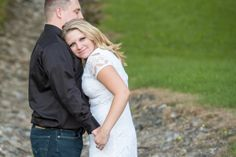 Late Summer Formal Engagement Session on stone path. White lace dress, black button-down shirt. ~photo by Awakened Light Photography, Michigan wedding photographer