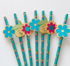 Flower straws flower decor party straws by CKGalaDesigns on Etsy
