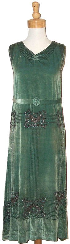 1920's Iced Green Velvet Gown w/ Gunmetal Beading  Vintage Clothing, Costume Jewelry, Fashion Accessories VINTAGEOUS.COM