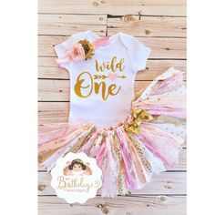 77da332c71f7e Wild one rag tutu outfit,Pink and Gold Wild One Birthday Outfit,Tribal tutu  outfit,Baby Girl Boho Theme 1st Birthday,pink and gold rag tutu