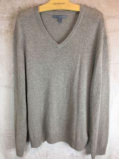 OLD NAVY XL 100% CASHMERE Men's  V-Neck Sweater Brown Super Soft  | eBay
