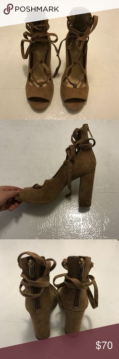 Vince Camuto Suede Strappy Heels Gorgeous tan suede strappy heels by Vince Camuto. These shoes are in excellent condition and only worn once! The straps can be tied around the ankle or tied up the calf. Can be dressed up or dressed down! 🌟Open to reasonable offers!🌟 Vince Camuto Shoes Heels