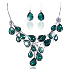 EVER FAITH® Stunning Teardrops Emerald Color Austrian Crystal Necklace Earrings Set Silver-Tone >>> Unbelievable  item right here! : Jewelry Sets