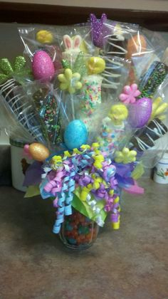 Easter Candy Bouquet. You could make this with loads of items from PoundLand.