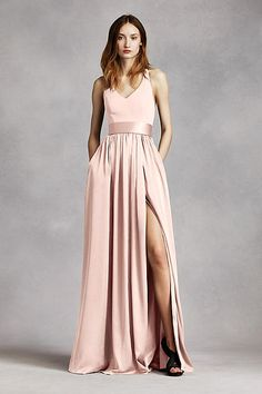 V Neck Halter Gown with Sash VW360214                                                                                                                                                                                 More