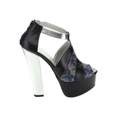Women's Da Viccino Kalin-1B Platform Sandal - Black/Blue/Silver Casual ($38) ❤ liked on Polyvore