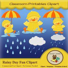 Rainy Day Fun Clipart Set