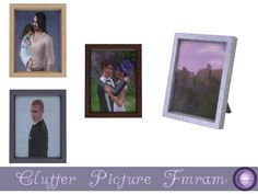 Small decorative picture frame. Four color options, four different images.  Found in TSR Category 'Sims 4 Clutter'