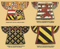 Extant tabards c15th Century Vienna Kunsthistoiriche Musem Nos III to 1; XIV 83; XIV 85; XIV96