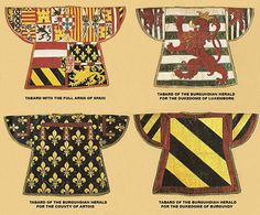 Extant tabards c15th Century Vienna Kunsthistoiriche Musem Nos III to 1; XIV 83; XIV 85; XIV96