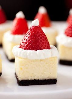 Santa Hat Cheesecake Bites - these are a hit at parties. Festive and delicious! Santa Hat Cheesecake Bites - these are a hit at parties. Festive and delicious! Holiday Desserts, Holiday Baking, Holiday Treats, Christmas Treats, Holiday Recipes, Christmas Hat, Holiday Appetizers, Christmas Recipes, Christmas Cakes